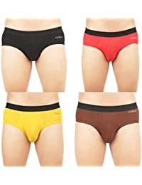 Clifton Mens Classic OE Brief Pack Of 4-Black-Bright Red-Bright Yellow-Brown