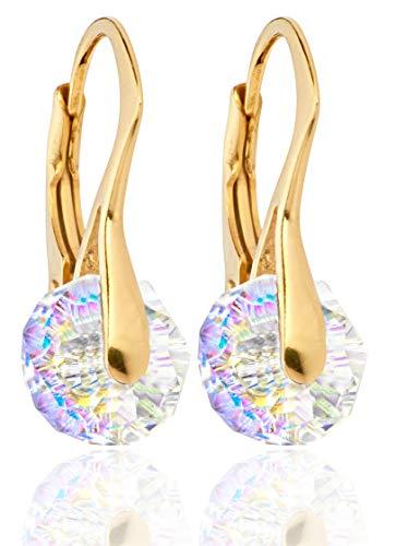 Handgefertigte Ohrringe mit rundenAurora-Borealis-Kristallen von Swarovski, 8 mm,...