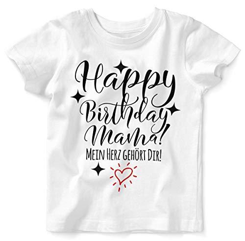 Mikalino Baby/Kinder T-Shirt mit Spruch für Jungen Mädchen Unisex Kurzarm Happy Birthday Mama! Mein Herz gehört Dir! | handbedruckt in Deutschland | Handmade with Love, Farbe:Weiss, Grösse:80/86