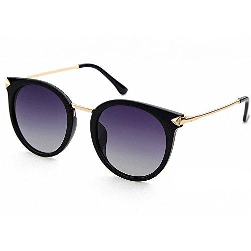 Yiph-Sunglass Sonnenbrillen Mode Retro Umrandete Art Dame Polarisierte Sonnenbrille Full Frame UV-Schutz Sonnenbrillen für den Urlaub Sommer Strand (Farbe : Grau)