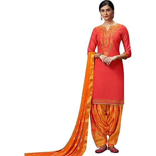 LADYLINE Womens Silk Embroidered Patiala Salwar Suit Un-Stitched Dress Material (Shangar-2-4057)
