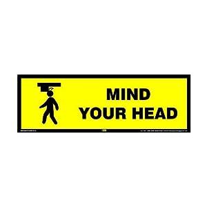 Mr. Safe – Mind your Head Sign Eco Vinyl Sticker 12 Inch X 4 Inch