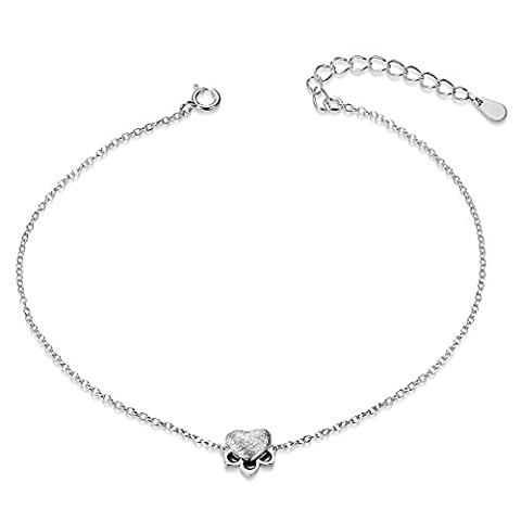 Sweetiee 925 Sterling Silver Anklet with Paw Silver 220mm for Woman