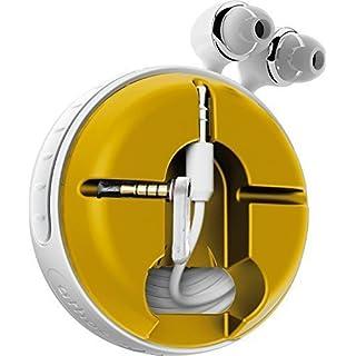 athos-c Cross, weiß-gelb - der hochwertige, universelle Aufroller für Kopfhörerkabel in Fanfarben