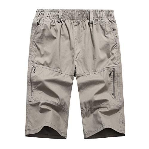 GreatestPAK Herren Bermuda Wadenlang Sporthose Sommer Freizeit Einfarbig Lose Mehrfach Strand 3/4 Jogginghose,Grau,EU:XL(Tag:3XL) - Militär-thermo-unterwäsche