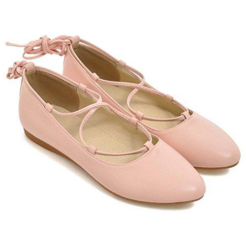 TAOFFEN Donna Stringate Scarpe Col Tacco Pink
