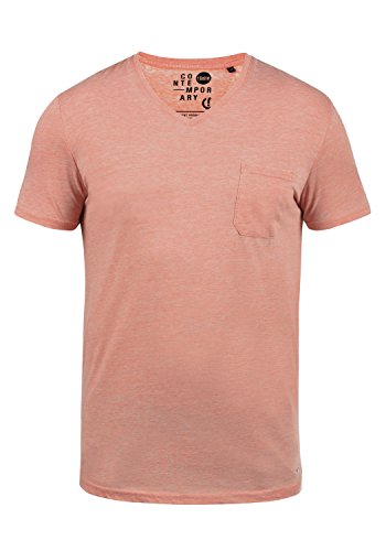 !Solid Theon Herren T-Shirt Kurzarm Shirt Mit V-Ausschnitt, Größe:XXL, Farbe:Rose Dawn (4916) -