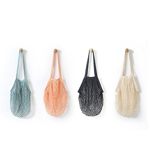 Modely Netz Einkaufstasche Wiederverwendbar Mesh Baumwolle Einkaufen Tote Handtasche Einkaufsnetz Veranstalter für Lebensmittel einkaufen/Outdoor-Verpackung/Lager/Obst/Gemüse (Weiß, 38 * 48.2cm)