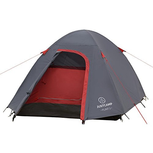 JUSTCAMP Flint 2 Tenda da Campeggio 2 posti, Tenda Igloo (280 x 150 x 110 cm)