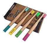 Spazzolino da denti bambù per bambini, 100% biodegradabili, naturali e vegani. Pacco da 4 spazzolini per bambini a setole morbide, naturali di carbone e vegetali. Senza BPA per migliore pulizia orale