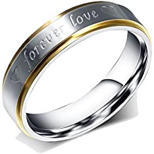 "UM Joyería Acero inoxidable ""Forever Love"" Corazón Grabado Prometido Anillos Plata Oro"