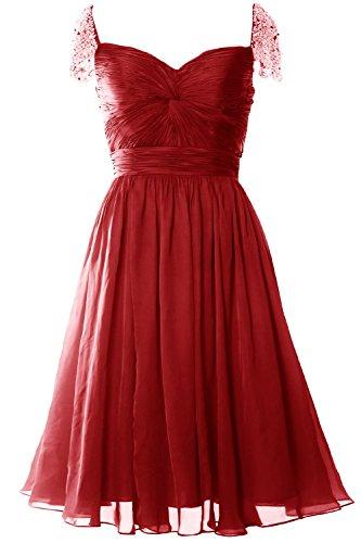 MACloth Women Cap Sleeve Short Ball Gown Evening Formal Prom Dress Wedding Party Burgunderrot