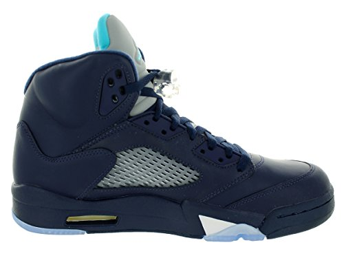 Nike Herren Air Jordan 5 Retro Turnschuhe Azul / Blanco (Midnight Navy / Trqs Blue-Wht)