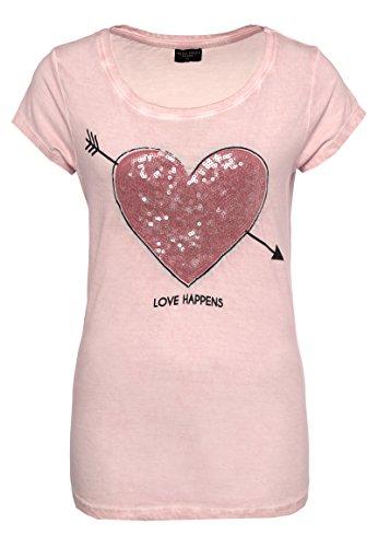 Fresh Made Damen T-Shirt mit Pailletten Herz-Motiv | Meliertes Basic Shirt Aus Leichtem Jersey-Material Rose M (Rosa Herz-shirt)