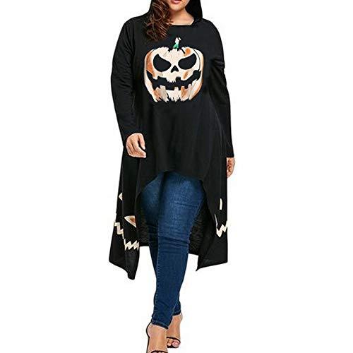 MERICAL Halloween kostüm Damen Hoch Tiefsaum mit Kapuze Kürbis Print Cocktail Party Swing Kleid(EU:50/CN:XXXXL,Schwarz)