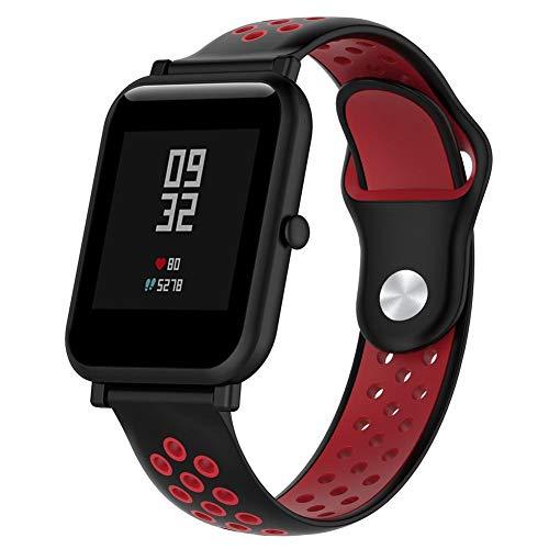 Lomire Correa de Muñeca Silicona de Reloj 20mm Universal Pulsera Impermeable Ligero Ventilar para Huami Amazfit Bip Youth Watch para Hombre y Mujer, Rojo