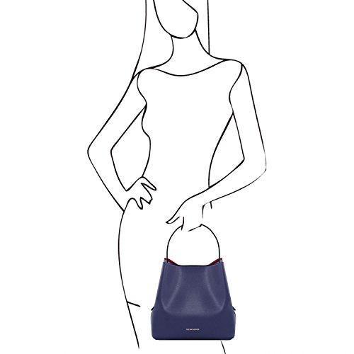 Tuscany Leather Arianna - Borsa secchiello da donna in pelle Saffiano con pochette interna - TL141613 (Nero) Blu scuro