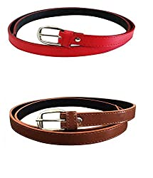 Glamio Girl's PU Leather Belts Set of 2 Combo (Red & Brown)(GLA/WOMENBELTS/REDBR)