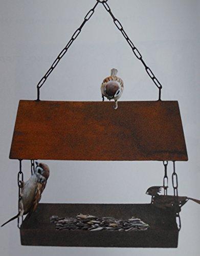 Edelrost Vogelhaus mit Ziervogel zum Aufhängen - 5
