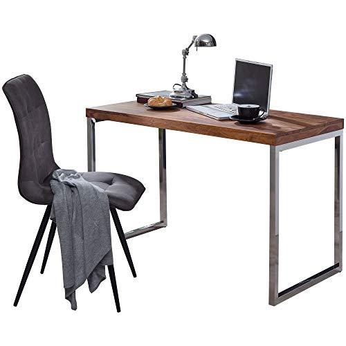 FineBuy Schreibtisch Massivholz | Computertisch 120 x 60 cm aus echtem Holz | Laptoptisch im Landhaus-Stil | Konsolen-Tisch mit Metallbeinen | Arbeitstisch dunkel-braun für Büro - Natur-Produkt -