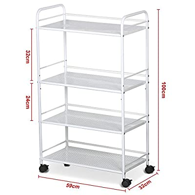 Tinxs 4 White Shelf Large Salon Beauty Trolley Cart Spa Storage Dentist Wax Treatments by tinxs - low-cost UK light shop.