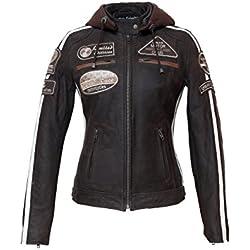 Urban Leather 58 Leren Bikerjack, Chaqueta de Moto para Mujer, Marrón, 38 / M