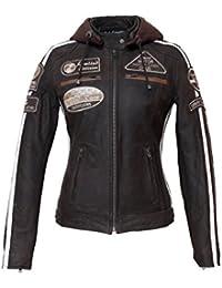 Chaqueta Moto Mujer de Cuero Urban GoCo Leather '58 LADIES', Chaqueta Cuero Mujer, Cazadora Moto de Piel de Cordero, Armadura Removible para Espalda, Hombros y Codos Aprobada por la CE, Marrón, L