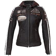Urban Leather UR-172 Veste de Moto pour Femmes avec Protections, Marron, 2XL