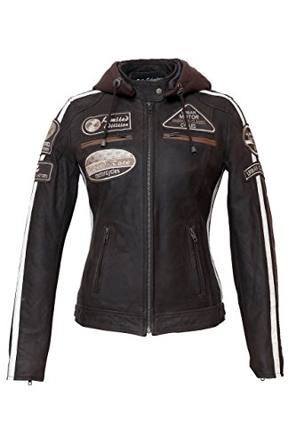Urban Leather 58 Leren Bikerjack, Chaqueta de Moto para Mujer, Marrón, 46 / 2XL
