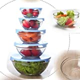 BIZ INTERNATIONAL Mixing Bowls Set With Lids- Set Of 5 Pcs Glass Food Storage Containers (Comes In 5 Different Size)