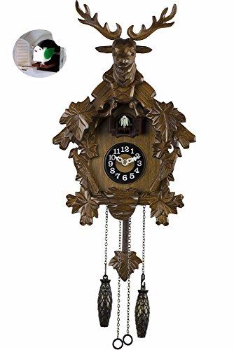 BRAUN Kuckucksuhr Holz 56cm Lautstärkenregelung Kuckuck Uhr Schwarzwald Modern Wanduhr programmierbar Pendel Pendeluhr