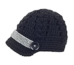 Bestknit Baby Boy Boy Crochet Baby Hat Newsboy Button Small Black
