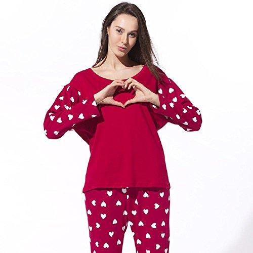 GJX Signora che porta dolci a forma di cuore stampe autunno e l'inverno di cotone a maniche lunghe pantaloni pigiama da notte e set loungewear , l