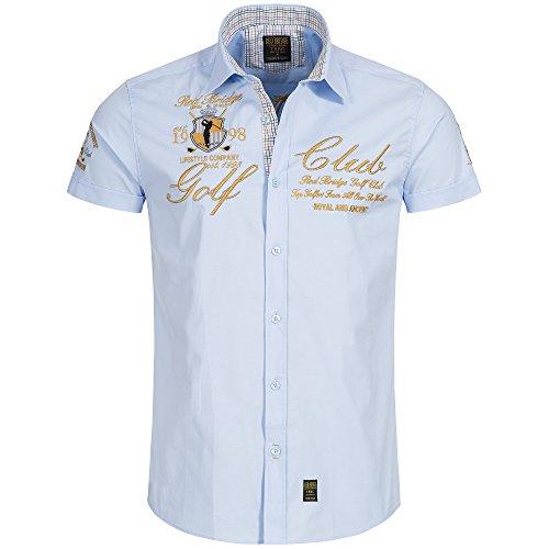 Redbridge by Cipo & Baxx Herren Hemd Freizeithemd Golf Club Regular Fit mit Stickerei (4XL, Lightblue) (Stickerei Shirt)