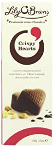 Lily O'Brien's Crispy Heart Pouch Milk Chocolate with Crunchy Honeycomb Pieces (Pack of 4)