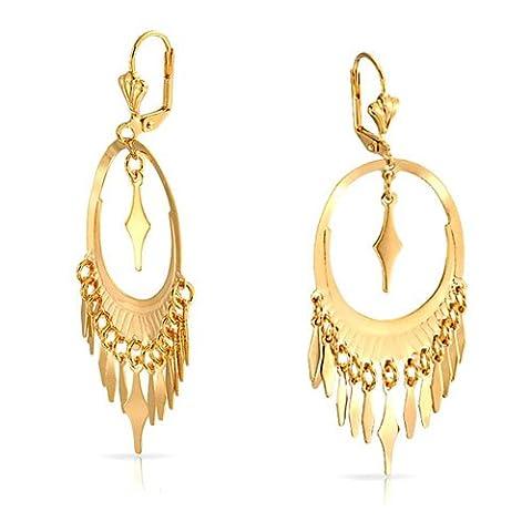 Bling Jewelry Feuilles d'or géométrique ovale rempli Dangle Earrings