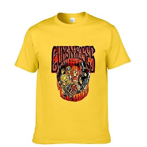 JJZHY Legendary Band Guns N \'Roses T-Shirt mit Baumwolldruck Rockliebhaber,Gelb,L