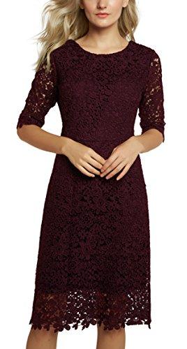 22293d6820 Urban GoCo Mujeres Vestido de Encaje Floral Corto Elegante Midi Vestidos de.