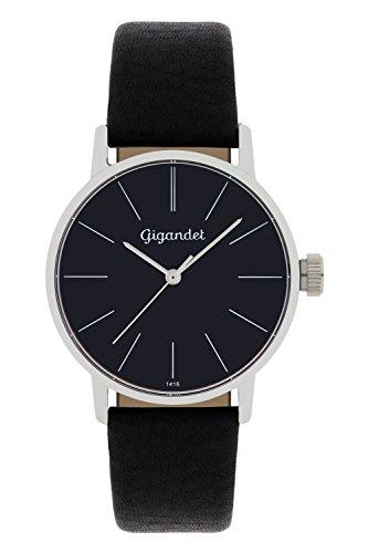 Gigandet Damen-Armbanduhr Minimalism Quarz Uhr Analog Lederarmband Schwarz G43-002