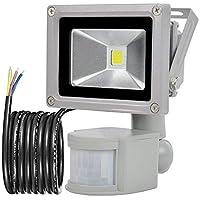 GLW 10W Foco LED con Sensor Movimiento,blanco frío 6000K,Impermeable IP65, Iluminación
