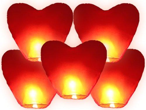 Alsino Himmelslaternen Skylaternen 5er Set Herz XXL rot | Nicht entflammbar Höhe: ca. 110 cm, Durchmesser: ca. 70 cm | 100{4aded8d17d2405a69713052be156a0c4dfd9ca5e2e0409280b6b4b68d6da91be} biologisch abbaubar
