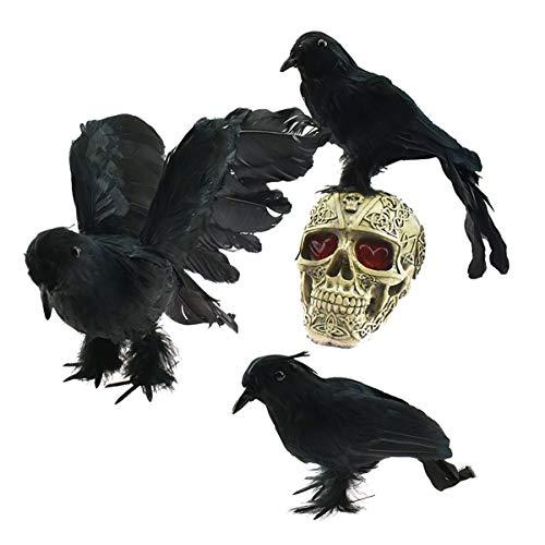 Schwarz Kostüm Gefiederten Flügel - XONOR Halloween gefiederte Krähen - 3 Stück realistisch aussehende Vögel Schwarze gefiederte Krähen für die Dekoration von Halloween Requisiten