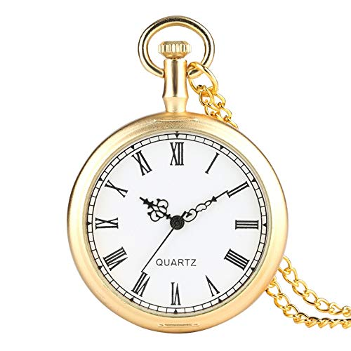HBDML Taschenuhr Gold Color Open Face Vintage Pocket Watch Men Pendant Watches Women Clock White Dial Hour Best Gifts for Christmas Birthday