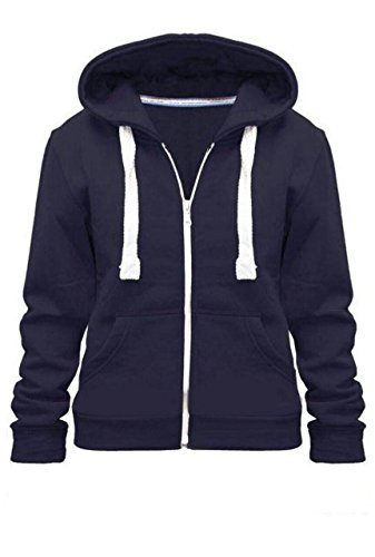 Kids Girls & Boys Unisex Plain Fleece Hoodie Zip Up Style Zipper Age 5-13 Years (7-8 YEARS, Navy)