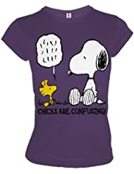 LOGOSHIRT Snoopy & Woodstock Retro Girl Shirt CHICKS CONFUSING Lila Grau Gr. M