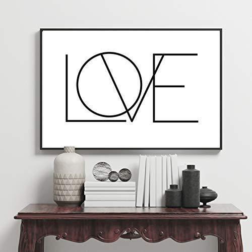 tzxdbh Minimalistische Liebe Leinwand Malerei schwarz und