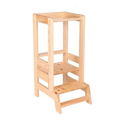 MeowBaby Aiuto-Cuoco Learning Tower Seggiolone per Cucina Kitchen Helper per Bambini Torre di Apprendimento Montessori Stabile e Inclinabile da Stand-up Sgabello in Legno Supporto, Naturale