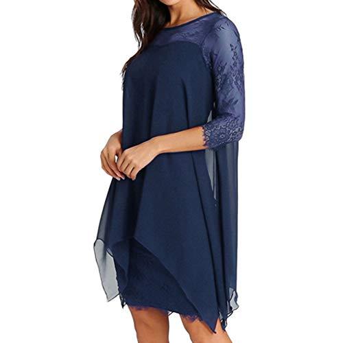 Mounter-Dress Damen Übergröße S-5XL Chiffon Spitze Kleid Overlay Dreiviertel 3/4 Ärmel Layered Iregular Saum Kleid Oversized Abendparty Abschlussball Bodyon Bleistiftkleid Gr. Medium, blau