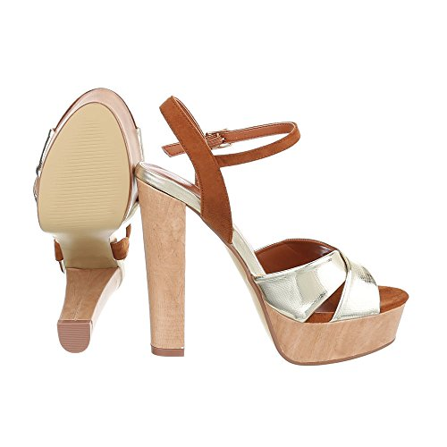 High Heel Sandaletten Damenschuhe Plateau Pump High Heels Schnalle Ital-Design  Sandalen / Sandaletten Gold ...