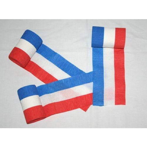 Krepp-Papier Blau-Weiß-Rot 10m x 10cm 3er Pack
